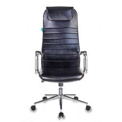Кресло руководителя Бюрократ KB-9N/ECO/BLACK черное,иск.кожа,крестовина хром