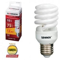 Лампа люминесц. энергосбер. SONNEN Т2, 15(75)Вт, цоколь E27, 12000ч, хол. свет,