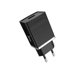 Блок питания сетевой USB, 5в, 3а, 18вт, USB-F, вилочный, QC3.0, чёрный, Hoco C42A