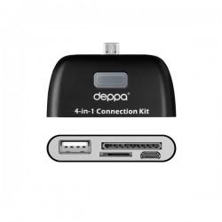 Картридер Deppa OTG connection kit для смартфонов и планшетов с microUSB, черный (11405)