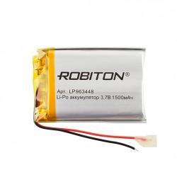 Аккумулятор Li-Pol ROBITON 963448 3.7В 1500mAh PK1/3.7в, контроллер, гибкие выводы, 34x48x9.6мм