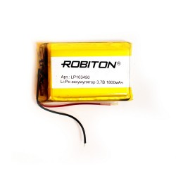 Аккумулятор Li-Pol ROBITON 103450 3.7В 1800mAh PK1/3.7в, контроллер, гибкие выводы, 50x34x10мм