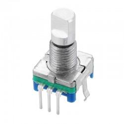 Энкодер инкрементальный EC11, с кнопкой, вертикальный, 20 импульсов, 12*12мм, вал с лыской d=6мм