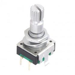Энкодер инкрементальный EC11, с кнопкой, вертикальный, 20 импульсов, 12*12мм, вал с насечкой d=6мм