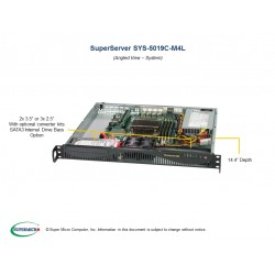 Supermicro SuperServer 1U 5019C-M4L Xeon E-21**/ no memory(4)/ 6xSATA/ on board RAID 0/1/5/10/ no HDD 2x3,5 or 3x2,5/ 1xFH/ 4xGb/ 350W