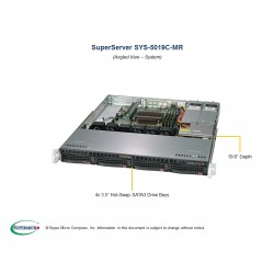 Supermicro SuperServer 1U 5019C-MR Xeon E-21**/ no memory(4)/ 6xSATA/ on board RAID 0/1/5/10/ no HDD(4)LFF/ 1xFH/ 2xGb/ 2x400W/ 1xM.2