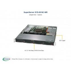 Supermicro SuperServer 1U 5019C-MR Xeon E-22**/ no memory(4)/ 6xSATA/ on board RAID 0/1/5/10/ no HDD(4)LFF/ 1xFH/ 2xGb/ 2x400W/ 1xM.2