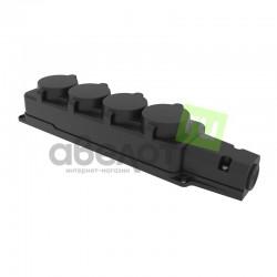 Розетка электрическая штепсельная REXANT четырехместная влагозащищенная 16А, з/к,  IP54  каучук