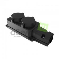 Розетка электрическая штепсельная REXANT двухместная влагозащищенная 16А, з/к,  IP54  каучук