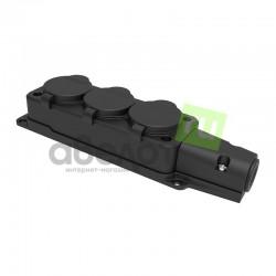 Розетка электрическая штепсельная REXANT трехместная влагозащищенная 16А, з/к,  IP54  каучук