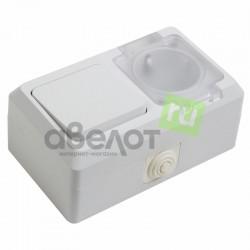 Выключатель одноклавишный + розетка влагозащищенная для открытой установки сз с крышкой 10 А IP44 PROCONNECT