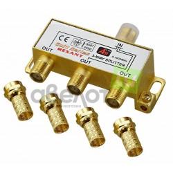 Делитель сигнала на 3 TV REXANT /5-1000Мгц/ + 4 F гайки GOLD