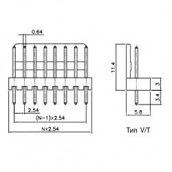 Разъем WF-10, штекер на плату, 2.54мм