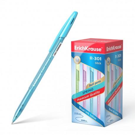 "Ручка шариковая Erich Krause ""R-301 Spring Stick"" 1мм., синяя, ассорти (31059)"