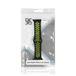 Ремешок спортивный силиконовый для Apple Watch (38-40мм) DF iSportband-01 (black/green)