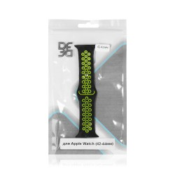Ремешок спортивный силиконовый для Apple Watch (42-44мм) DF iSportband-02 (black/green)