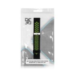 """Ремешок спортивный силиконовый для Samsung Galaxy Watch Active/Active2/Amazfit GTR 1.2"""" 42мм DF sSportband-01 (black/green)"""