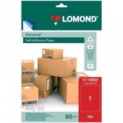 Этикетка самоклеящаяся LOMOND на листе А4 1шт, красная 50л. (2110005)