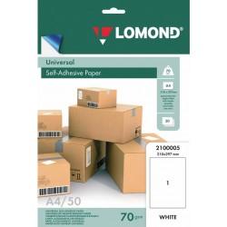 Этикетка самоклеящаяся LOMOND на листе А4 1шт. 210х297 мм, белая 50л. (2100005)