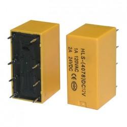 Реле электромагнитное DC 12в, 2а, DPDT, 21*10*12мм, Ruichi 4078-DC12V