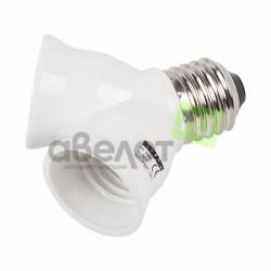 Разветвитель цокольный  Е27-2хЕ27 REXANT 11-8811 /белый
