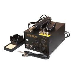 Паяльная станция KADA 852A+, паяльник 200..480°С, фен компрессорный 100..450°С, 580вт