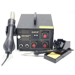 Паяльная станция KADA 852AD+, паяльник 200..480°С, фен компрессорный 100..450°С, 580вт