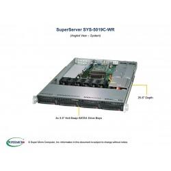 Supermicro SuperServer 1U 5019C-WR Xeon E-22**/ no memory(4)/ 6xSATA/ on board RAID 0/1/5/10/ no HDD(4)LFF/ 2xFH, 1xLP/ 2xGb/ 2x500W/ 1xM.2