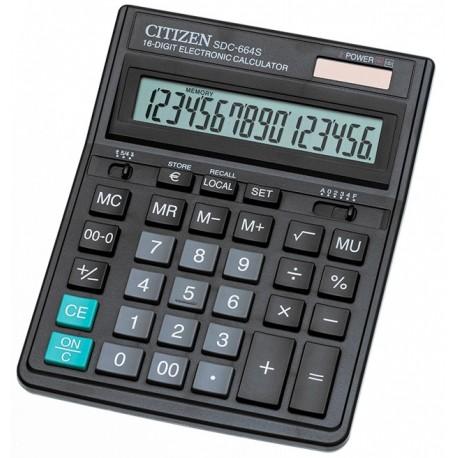 Калькулятор CITIZEN SDC-664S 16 разряд, черный