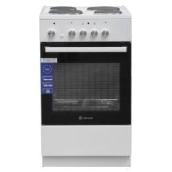 Плита электрическая De luxe 5004.18Э White 4 конфорки, духовка 43л, 50x50x85, механ. управление