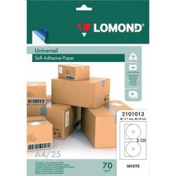 Универсальные этикетки Lomond белые для CD D=117мм, ., 25листов, . (2101013)