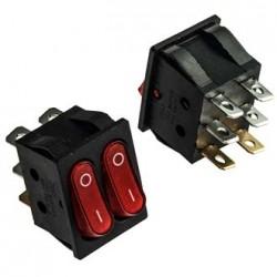 Переключатель клавишный ON-OFF, SPDT, 250в, 15а, 25.3*21.7мм, индикация, двойной, KCD4-2101N-C3-R