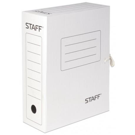 Короб архивный 10см. STAFF с завязками, белый (128874)