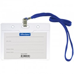 Бейдж гориз. OfficeSpace 100*75мм, на синем шнурке (284655)