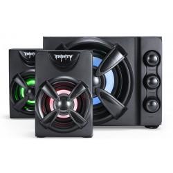 Актив.колонки 2.1 Qumo Trinity AS002 9Вт, объемное звучание, RGB подсветка, питание от USB, пластик, Черный