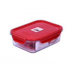 Контейнер Oursson CG1502S/RD (Красный) 1.5л,жаропроч.стекло,Glass GERMETIC Clip,для холодильных и мороз.камер,свч и духовых шкафов,температ.+400 гр,