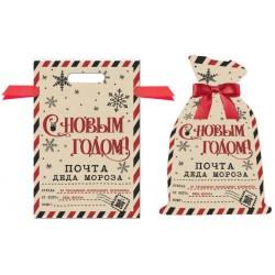 """Мешок для упаковки подарков с лентой """"С Новым Годом!"""", бежевый, 30*45см (81727)"""