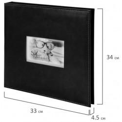 """Фотоальбом BRAUBERG """"Premium Black"""" 20 магнитных листов 30*32см, черный, 391186"""