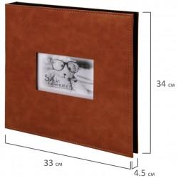 """Фотоальбом BRAUBERG """"Premium Brown"""" 20 магнитных листов 30*32см, коричневый, 391185"""