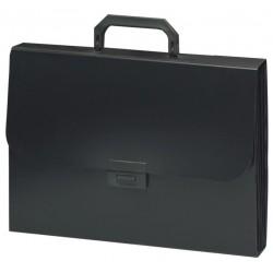 """Портфель пластиковый BRAUBERG """"Energy"""" 6 отделений, черный (221204)"""