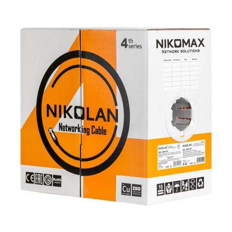 Кабель витая пара 305m Cu NIKOLAN U/UTP 23 AWG 4 пары кат 6 NKL 4140A-GY C160