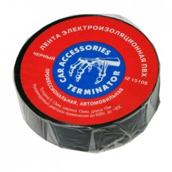 Изолента Terminator IZ 1510S /15мм х 10м/черный/ 0,13 мм, автомобильная