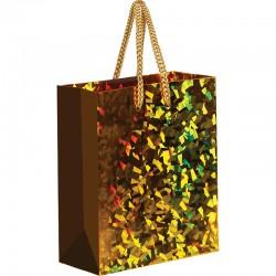 Пакет подарочный 11*14*6,5см ArtSpace, голографический, золотой YHs 33100