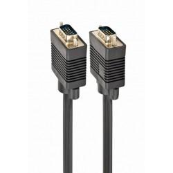 Кабель соединительный VGA(m) - VGA(m) 10м Gembird, тройной экран, 2 фильтра, черный (СС-PPVGA-10M)