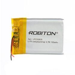 Аккумулятор Li-Pol ROBITON 232635 3.7В 130mAh PK1/3.7в, контроллер, гибкие выводы, 35x26x2мм