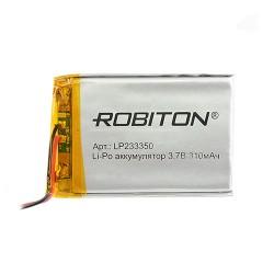 Аккумулятор Li-Pol ROBITON 233350 3.7В 310mAh PK1/3.7в, контроллер, гибкие выводы, 50x33x2мм