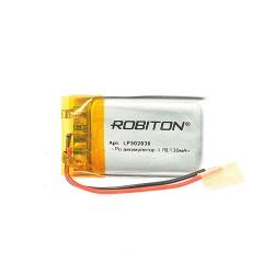 Аккумулятор Li-Pol ROBITON 302030 3.7В 130mAh PK1/3.7в, контроллер, гибкие выводы, 35x26x2мм