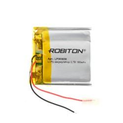 Аккумулятор Li-Pol ROBITON 303030 3.7В 180mAh PK1/3.7в, контроллер, гибкие выводы, 60x45x3мм