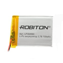 Аккумулятор Li-Pol ROBITON 304560 3.7В 700mAh PK1/3.7в, контроллер, гибкие выводы, 60x45x3мм