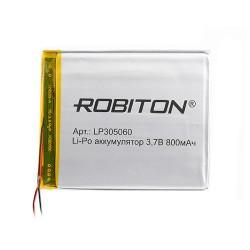 Аккумулятор Li-Pol ROBITON 305060 3.7В 800mAh PK1/3.7в, контроллер, гибкие выводы, 60x50x3мм